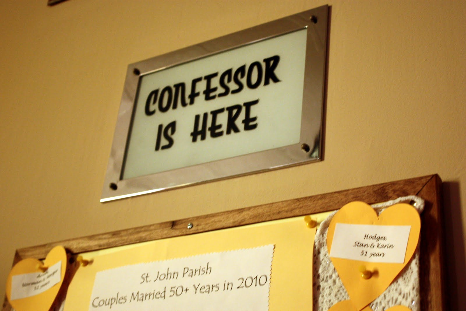 Confessional sign