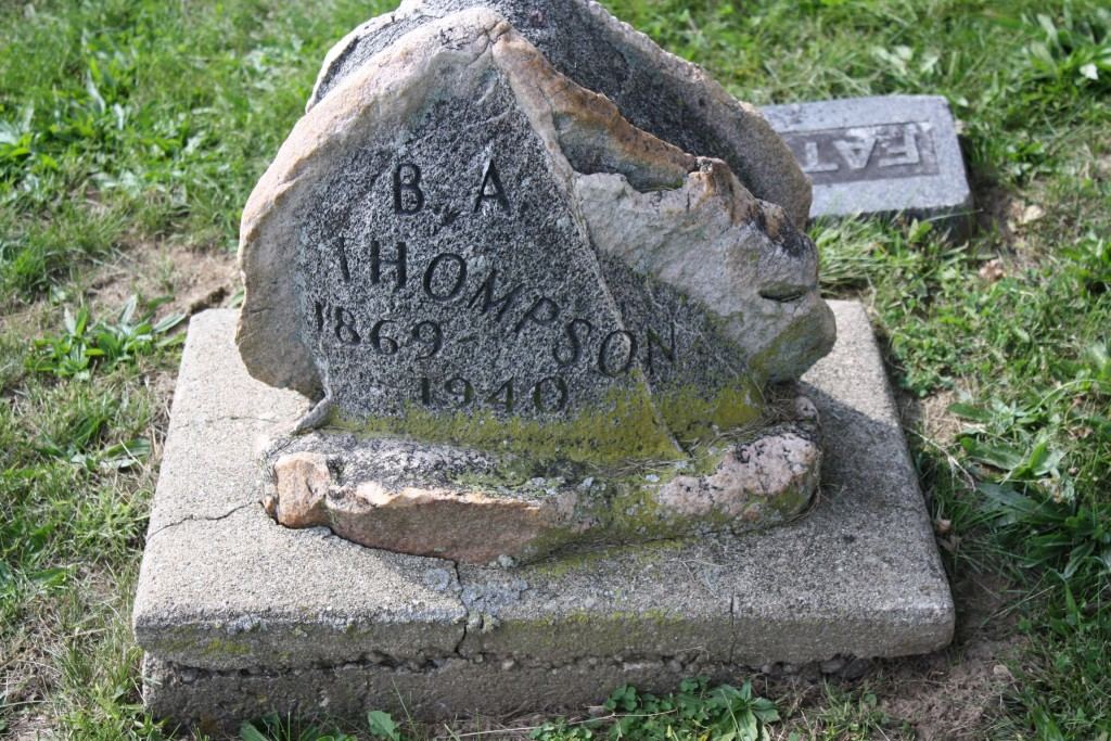 Very strange headstone for B.A. Thompson.  Was this look the goal?