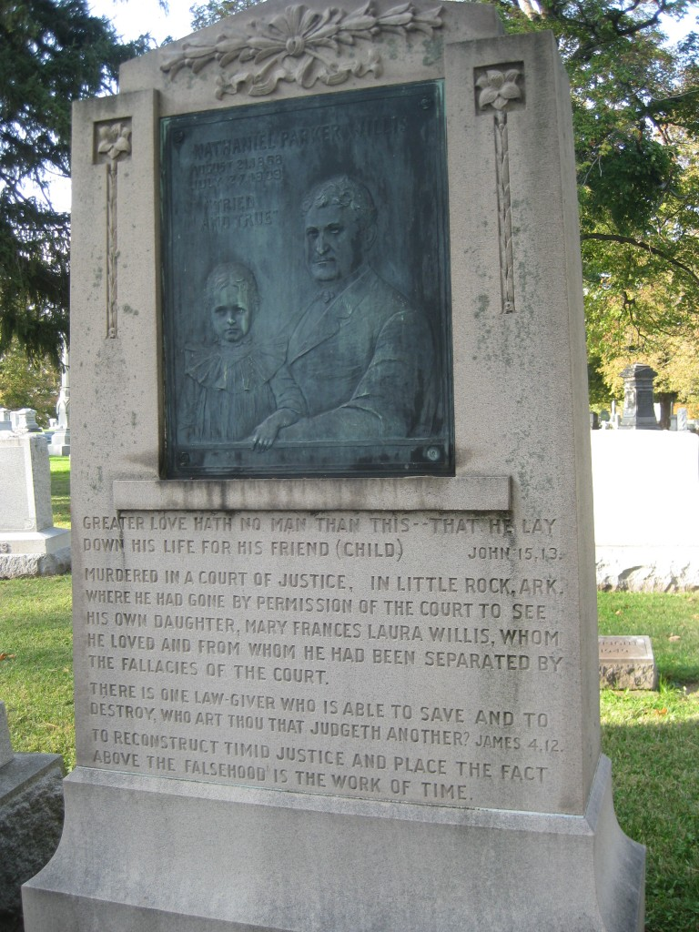 Headstone and inscription for Montgomery County native, Nathaniel Parker Willis