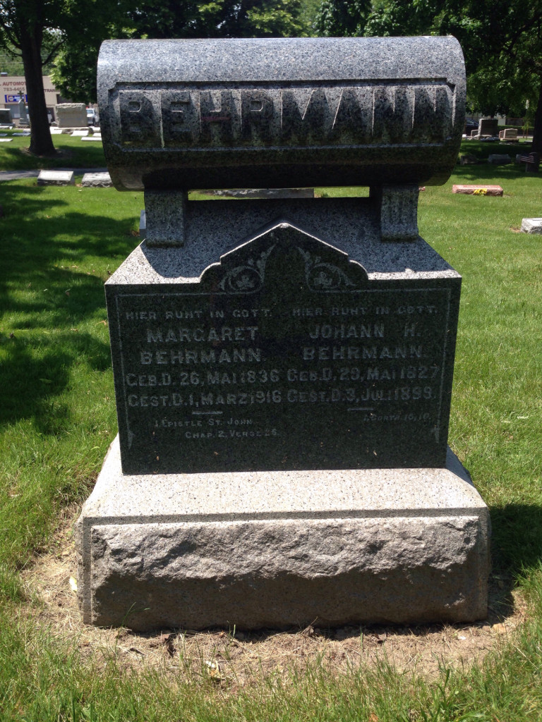 Concordia Cemetery is very German. Check out Johann and Margaret Behrmann. Headstone actually written in German.
